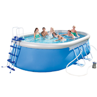"Bestway 18' x 12' x 48"" Oval Steel Frame Pool Set"