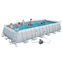 "Bestway  24' x 12' x 52"" Power Steel Frame Rectangular  Pool Set"