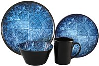 Streetwize 16pce Melamine Dinner Set - Blue Rock