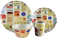 Streetwize 16pce Melamine Dinner Set - Luggage Design