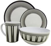 Streetwize 16pce Stripe Melamine Dinner Set