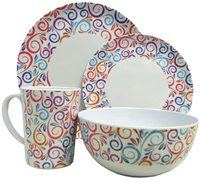 Streetwize 16pce Swirls Melamine Dinner Set