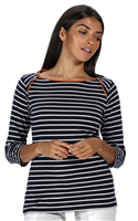 Regatta Polina Womens TShirt Navy Stripe 2021