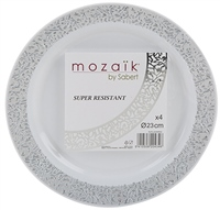 PMS 4 Pack Silver Plates 23cm