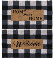 PMS Black & White Check Coir Door Mat