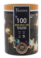 Festive 100 Warm White Bo Timer Star Lights