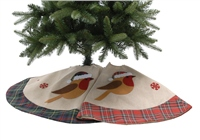 Festive Tree Skirts With Robin Design