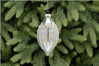 Festive Clear Iridescent Beaded Glass Bauble