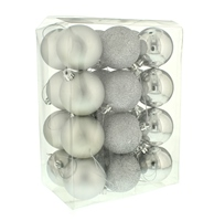 Festive 24 Pack Silver Baubles