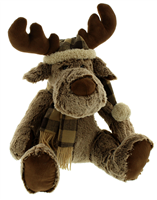 Festive Brown Plush Reindeer With Hat And Scarf