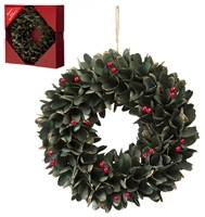 Festive Green Leaf And Red Berries Wreath In Box