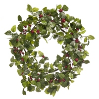 Festive Green Holly Leaf Wreath