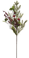 Festive Green Bristle Red Berry Spray