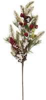 Festive Frosted Red Berries and Pine Cone Spray