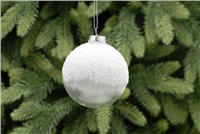 Festive Clear With White Glitter Brushed Glass Bauble