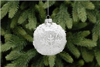 Festive Frosted With White Snowflake Glass Bauble