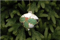 Festive Silver And White Holly Design Onion Bauble