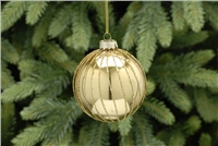 Festive Gold Glass Bauble With Glitter Sripe