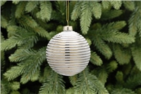 Festive Gold With White Lines Bauble