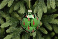 Festive Green With Red Glitter Bauble