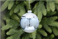 Festive Ice Blue Glass Bauble With Snowflake Design