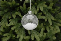Festive Ice Effect With Snow Glass Bauble