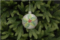 Festive Metallic Crackle Holly Design Bauble