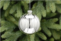 Festive Silver With Glitter Bauble