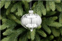 Festive Silver With Glitter Onion Style Bauble