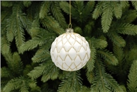 Festive White And Gold Pillow Bauble