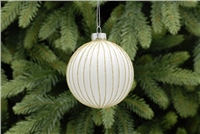 Festive White With Gold Glitter Ridged Bauble