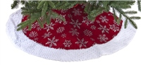 Festive Burgundy With Silver Snowflakes Tree Skirt