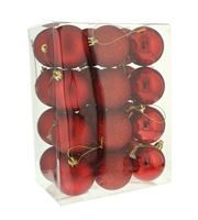 Festive 27 Pack Mixed Finish Red Baubles