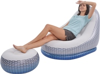 Avenli Venice Lounger With Stool Rattan Set