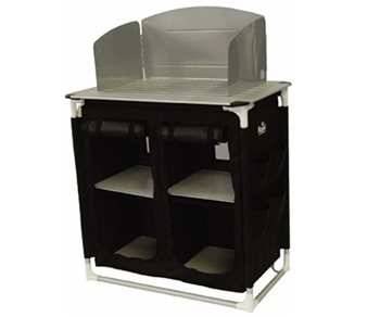 royal camping kitchen stand with windshield larders display model click to view - Camping Kitchen