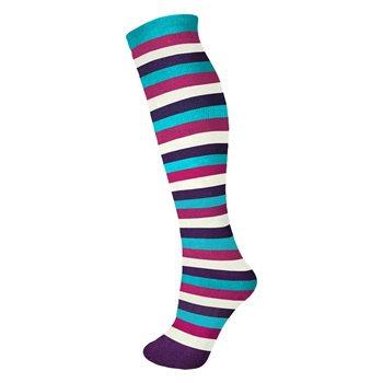 "Manbi 14"" Patterned Tube Sock - Striped / Pink, White, Purple"