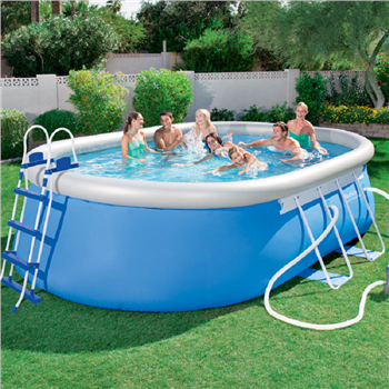 bestway 16 x 10 x 42 oval steel frame pool set. Black Bedroom Furniture Sets. Home Design Ideas
