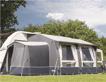 Kampa Classic Air 380 Expert Inflatable Caravan Awning 2018 Show with the optional Tall Annexe & Conservatory. - Click to view a larger image