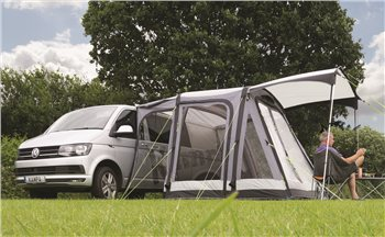 Kampa Dometic Travel Pod Motion Air Driveaway Awning 2018 Shown with optional zip on front canopy. - Click to view a larger image