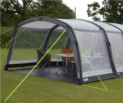 Kampa Hayling 4 Air Pro Canopy 2019 Front Canopy Shown with optional vestibule. - Click to view a larger image
