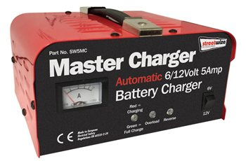 Streetwize Heavy Duty 6 and 12 Volt 5 Amp Automatic Battery Charger  - Click to view a larger image