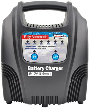 Streetwize 6 and 12V 4 Amp Fully LED Automatic Battery Charger