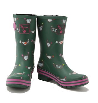 Evercreatures Funky Chicken Print Shortie Wellies
