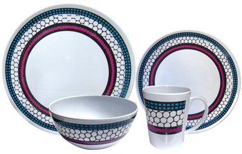 Streetwize 16pce Honeycomb Melamine Dinner Set  - Click to view a larger image