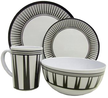 Streetwize 16pce Stripe Melamine Dinner Set  - Click to view a larger image