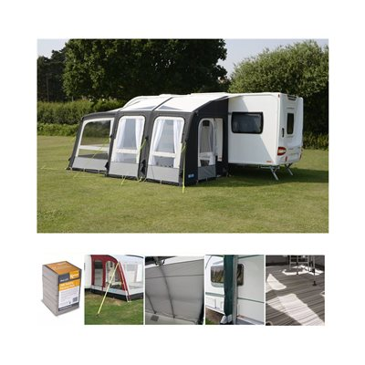 Kampa Rally AIR Pro 260 PLUS Caravan Awning Package Deal 2019 Left