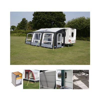 Kampa Rally AIR Pro 390 PLUS Caravan Awning Package Deal 2019 Left