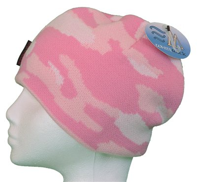 White Rock Pink Camo Beanie Hat  - Click to view a larger image