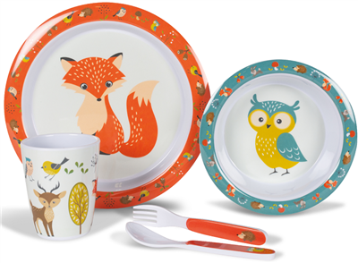 Kampa Dometic Woodland Creatures Childrens Dinner Set 2019  - Click to view a larger image