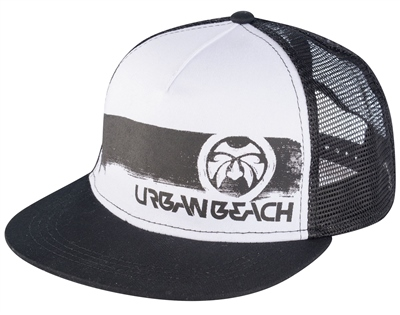 Urban Beach Black Trucker Flat Peak Cap  - Click to view a larger image